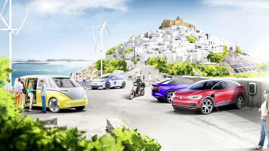 Ein grafische Montage zeigt, wie die griechische Insel Asytpalea in Zukunft aussehen soll.