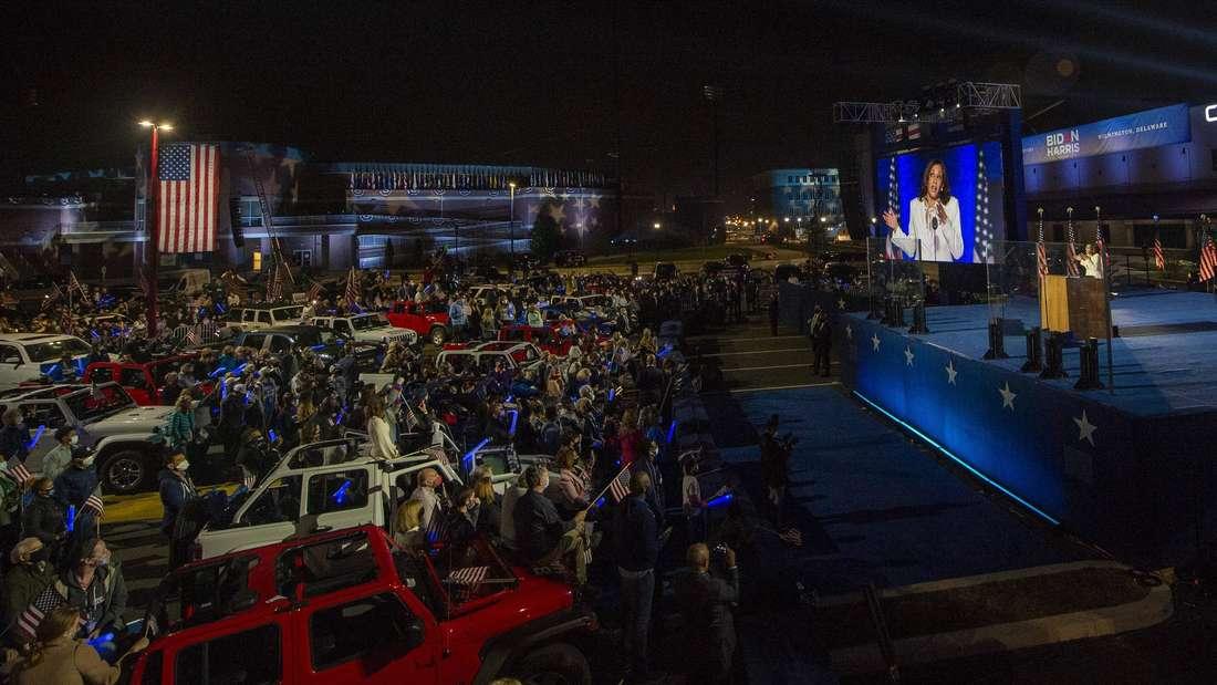 Rede der designierten neuen US-Vizepräsidentin Kamala Harris in Wilmington