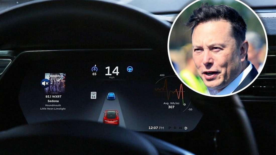 Das Cockpit in einem Tesla Model S und der CEO des Elektroauto-Unternehmens Elon Musk. (Symbolbild)