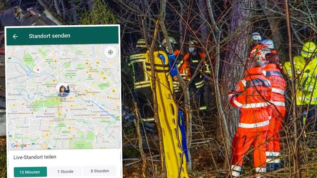 Links: die Live-Standort-Funktion von WhatsApp. Rechts: Feuerwehr und Rettungsdienst bei Bergungsarbeiten. (Symbolbild)
