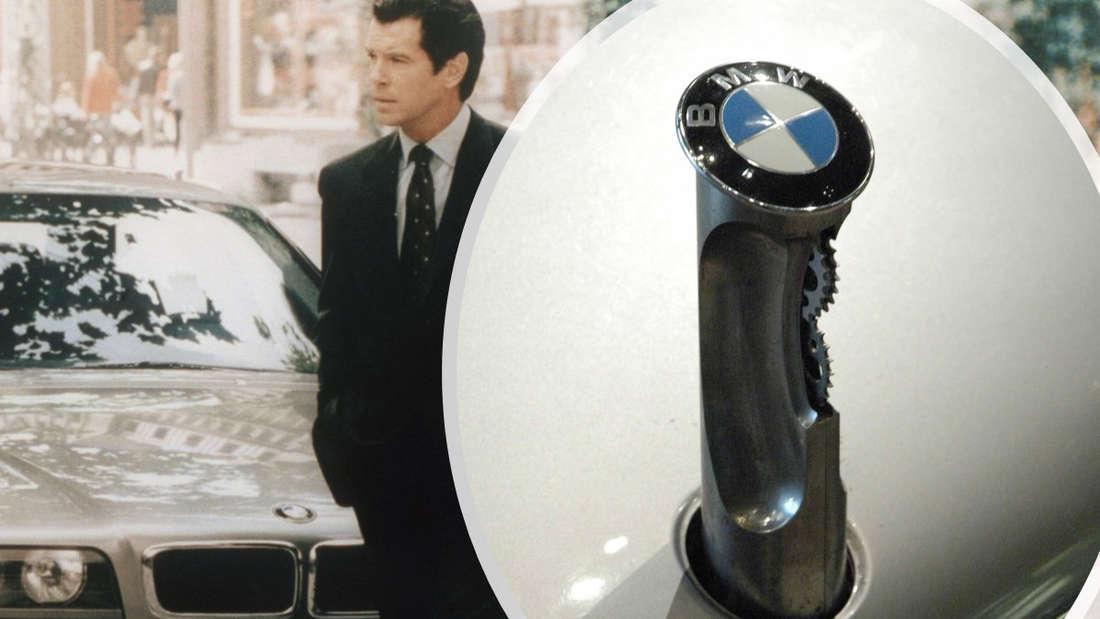 """James Bond (Pierce Brosnan) vor einem BMW 7er, die """"Säge"""" in Großaufnahme"""
