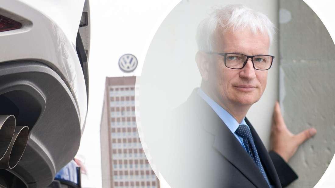 Der Auspuff eines Diesel-Autos von VW (links) und der Chef der Deutschen Umwelthilfe Jürgen Resch (rechts)
