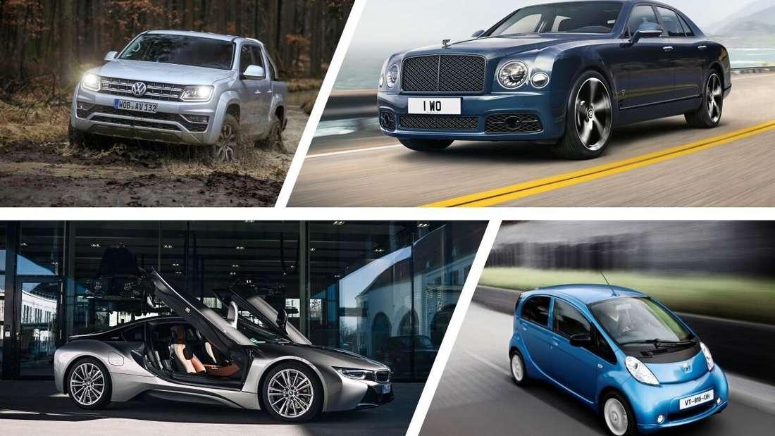 Ein VW Amarok, ein Bentley Mulsanne, ein BMW i8 und ein Peugeot Ion.