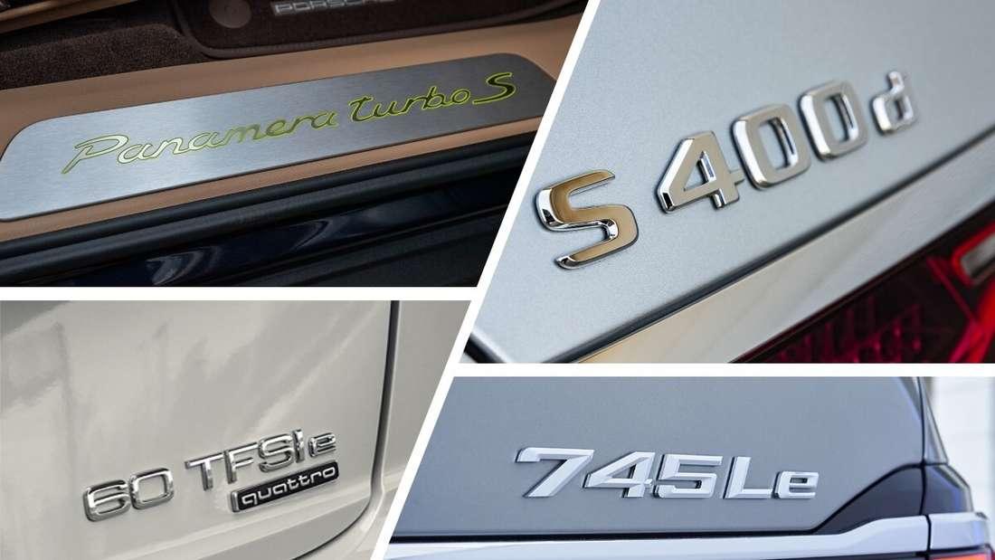 Modellbezeichnungen von Porsche, Mercedes-Benz, Audi und BMW