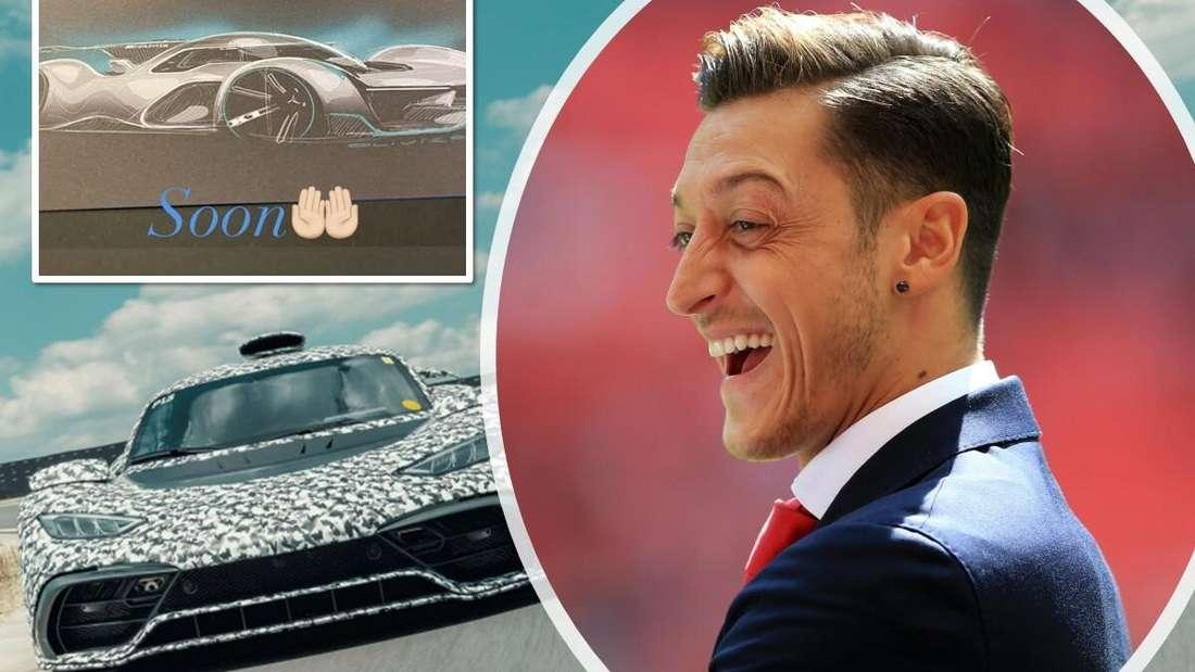 Ein Mercedes-AMG One (links unten) sowie Fußballer Mesut Özil (rechts) und sein Instagram-Post (links oben)