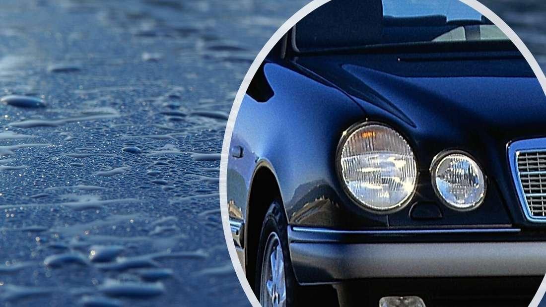 Wassertropfen auf blauem Lack, Teil der Front einer Mercedes E-Klasse (Symbolbild).