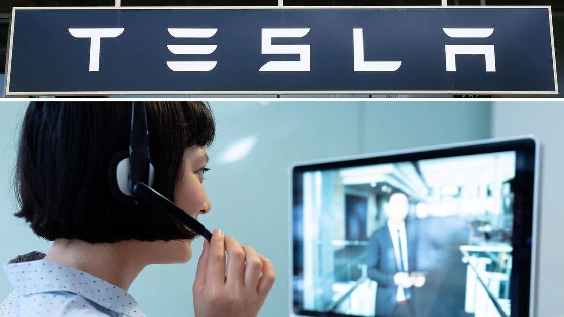 Das Firmenlogo von Elektroauto-Hersteller Tesla (oben) und eine Frau in einem Video-Call (unten)
