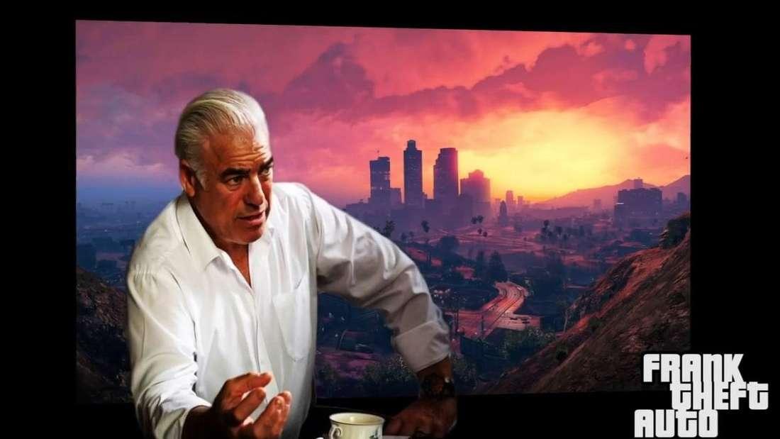 """Der renommierte Supercar-Designer Frank Stephenson vor einer Hintergrundkulisse aus dem Computerspiel """"Grand Theft Auto V"""""""