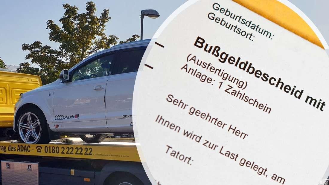 Das weiße Audi-Q7-SUV des 38-Jährigen aus Speyer (links) und ein amtlicher Bußgeldbescheid (rechts)