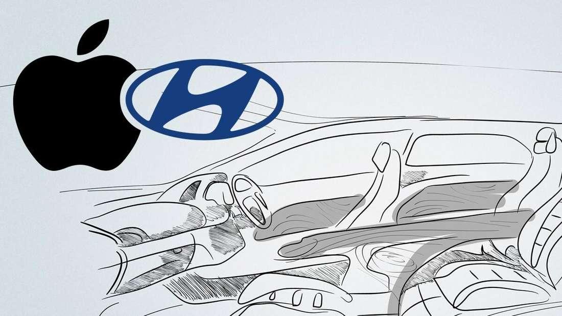 Die Skizze eines Fahrzeuginnenraums sowie die beiden Firmenlogos von Apple und Hyundai (Symbolbild)