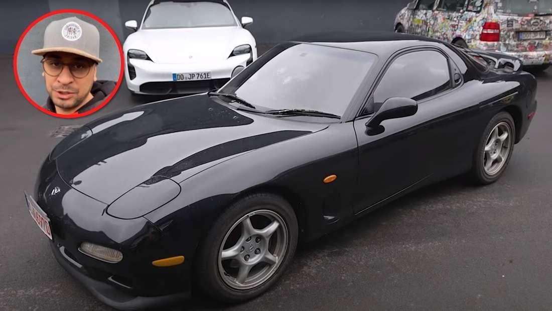 Ein Porträt von JP Kraemer neben seinem Mazda RX-7