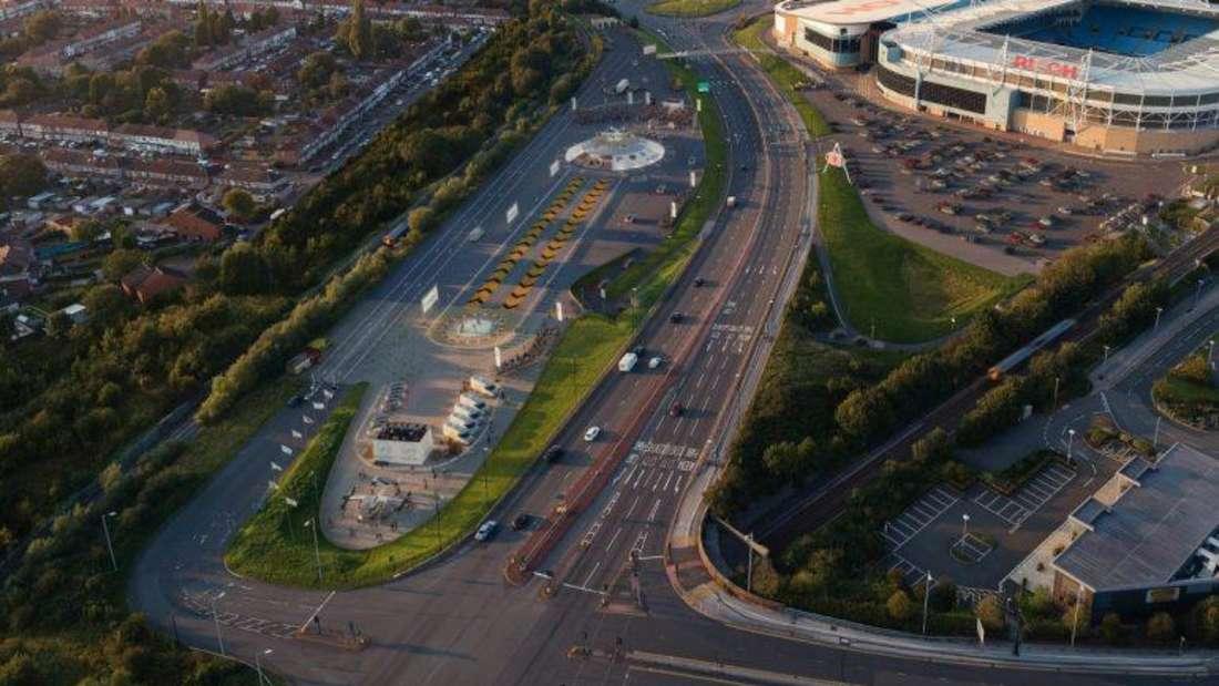 """Der von Urban Air Port und Hyundai geplante Flughafen """"Air-One"""" in Coventry von oben"""