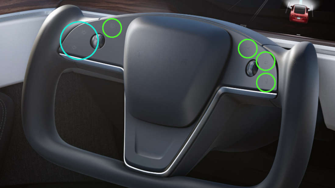 Blick auf das Lenkrad des facegelifteten Tesla Model S.
