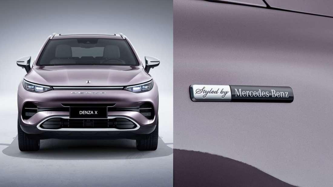 """Der Denza X von vorne und mit """"Styled by Mercedes-Benz""""-Logo"""