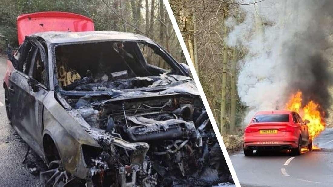 Bild des brennenden Audi RS3, dazu Bild des ausgebrannten Autos