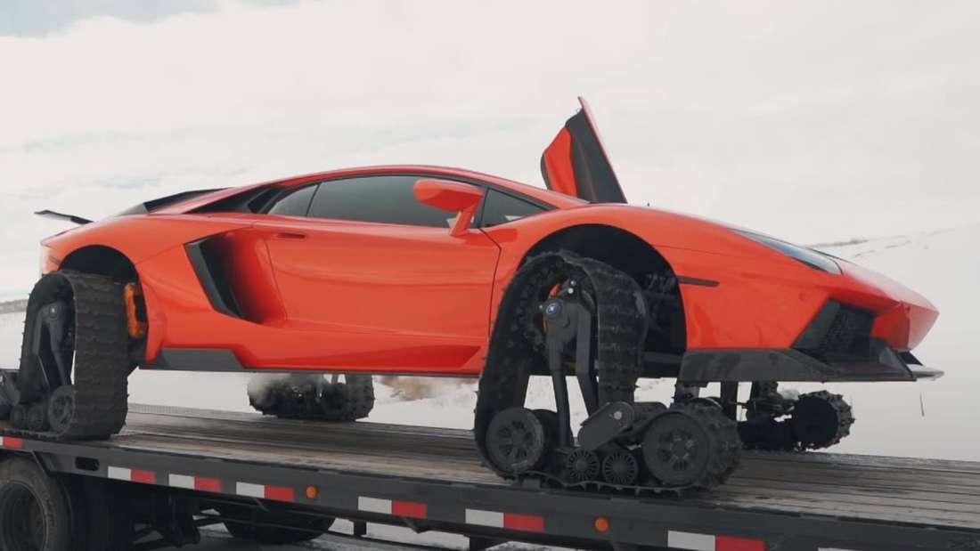 Ein auf Kettenantrieb umgerüsteter Lamborghini Aventador