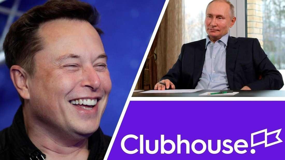 Tesla-CEO Elon Musk (links), Russlands Präsident Wladimir Putin (rechts oben) und das Logo von Clubhouse (rechts unten) (Symbolbild)
