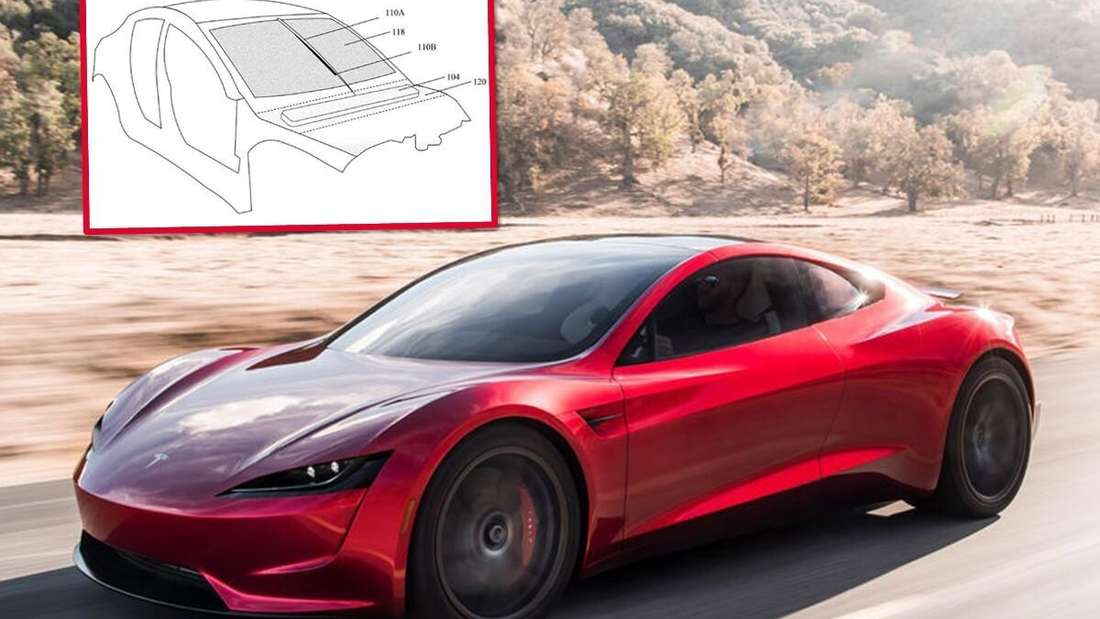 Der Tesla Roadster und eine Skizze des neuen Scheibenwischers