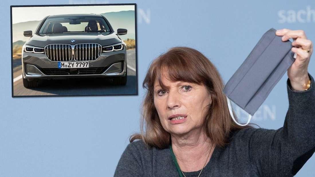 Links: ein BMW 7er. Rechts: Sachsens Sozialministerin Petra Köpping hält eine Maske in die Luft. (Symbolbild)