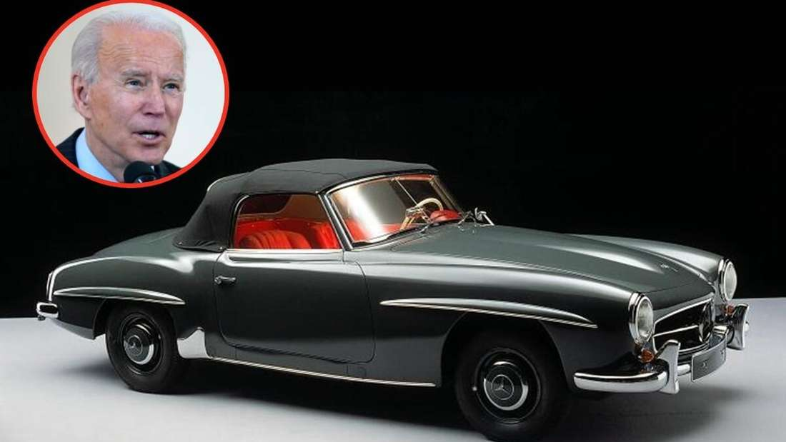 Ein Mercedes 190 SL und ein Porträt von Joe Biden. (Symbolbild)