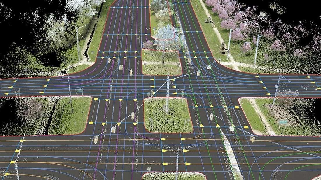 Eine mittels Lidar-Technik erstellte dreidimensionale Umgebungskarte