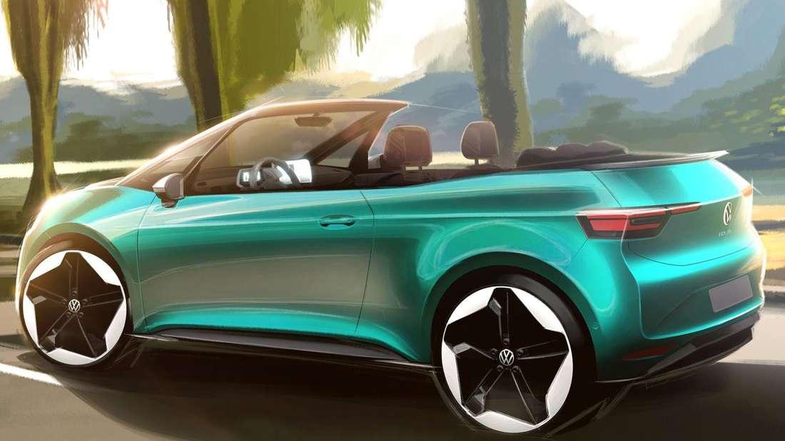 Die Zeichnung eines VW ID.3 Cabrio