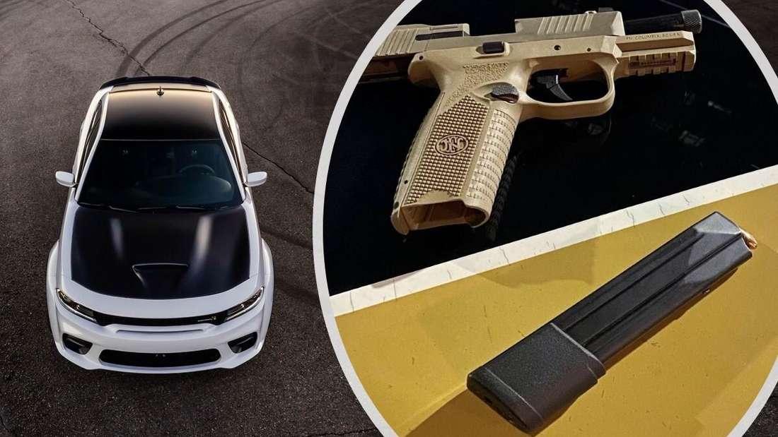 Links: ein Dodge Charger. Rechts: die Pistole aus der Mittelkonsole. (Symbolbild)