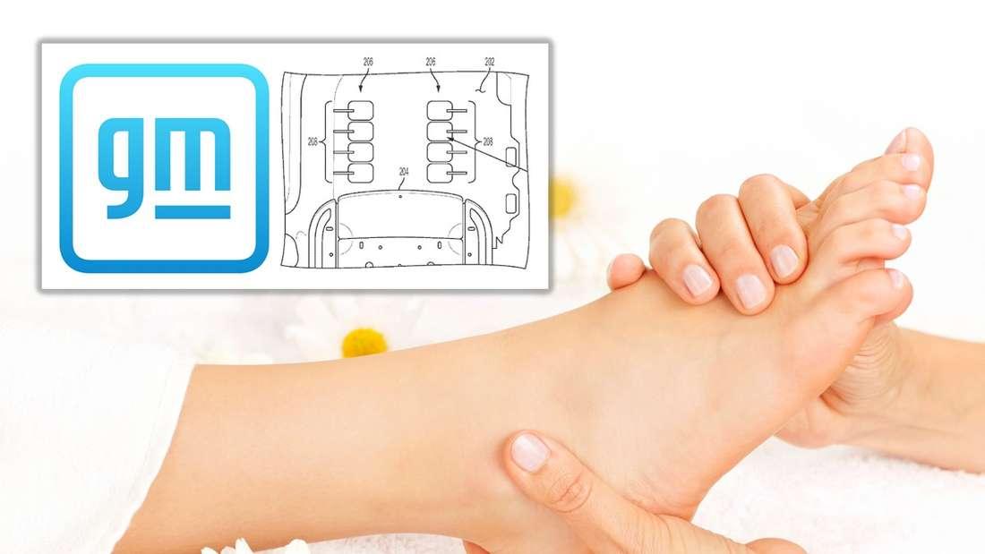 Ein Fußmassage, dazu das GM-Logo und eine Patent-Zeichnung (Symbolbild)
