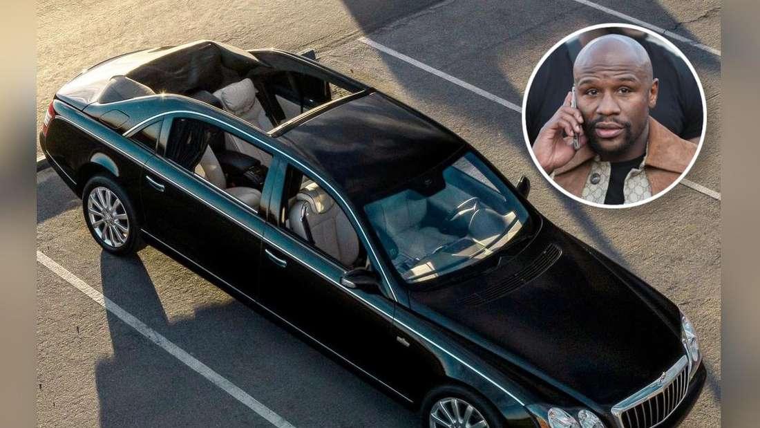Ein schwarzes Maybach Landaulet und ein Porträt von Floyd Mayweather