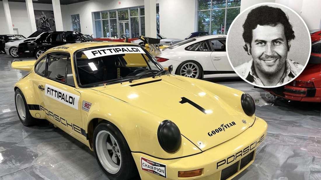 Ein gelber Porsche RSR und ein Porträt von Pablo Escobar