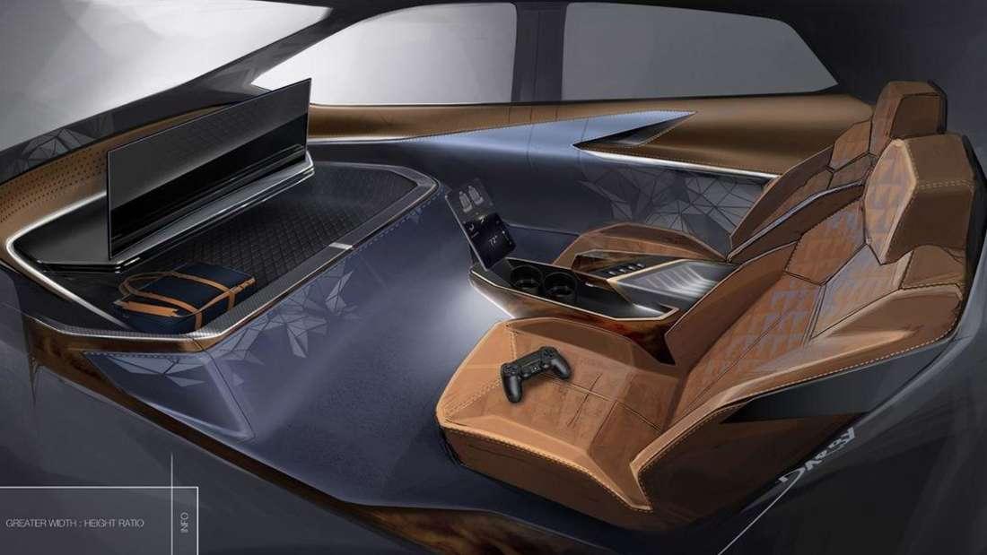 Eine Innenraum-Vision mit eingebauter Spielekonsole von General Motors
