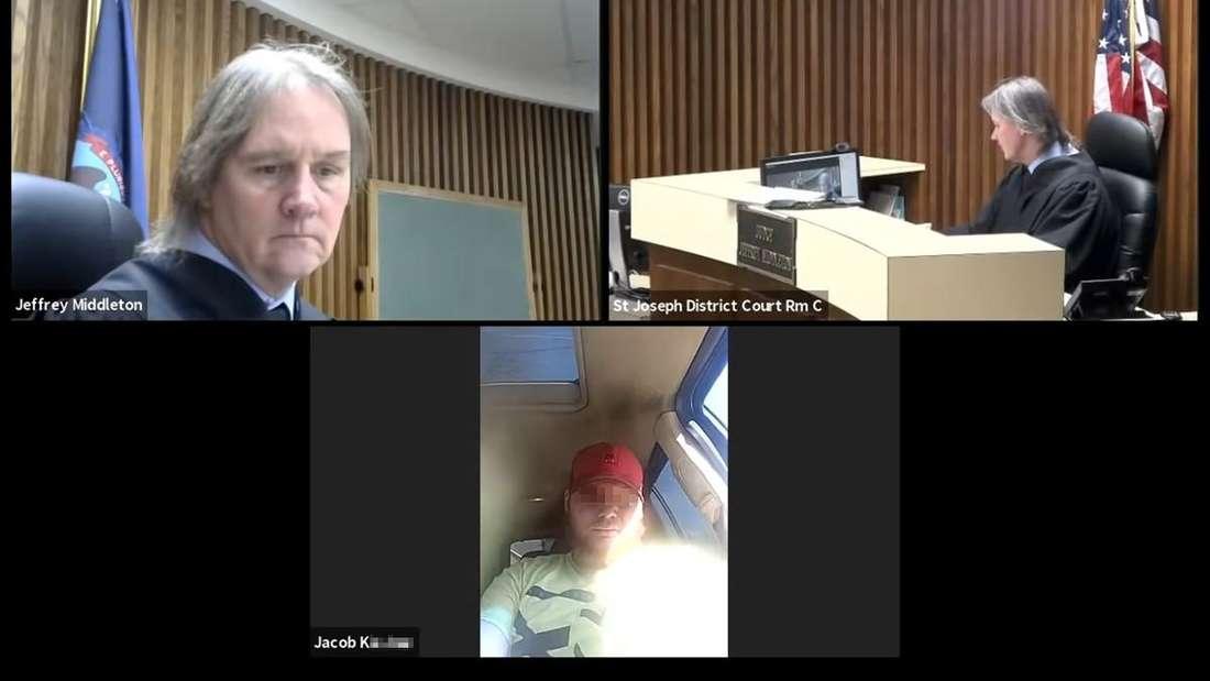 Links und rechts oben: Richter Jeff Middleton im Gerichtssaal. Unten: der Angeklagte im Auto.