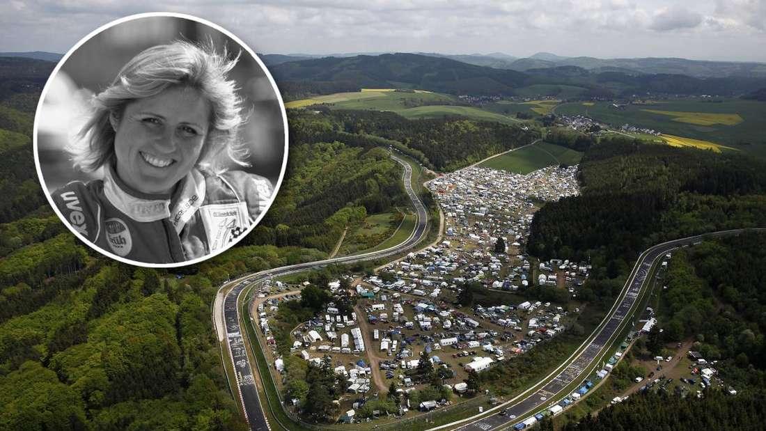 Eine Luftaufnahme der Nürburgring-Nordschleife, ein Porträt von Sabine Schmitz