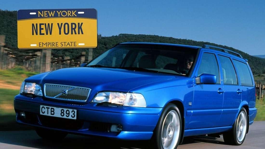 Ein blauer Volvo V70 und ein gelbes Nummernschild aus dem US-Bundesstaat New York (Symbolbild)