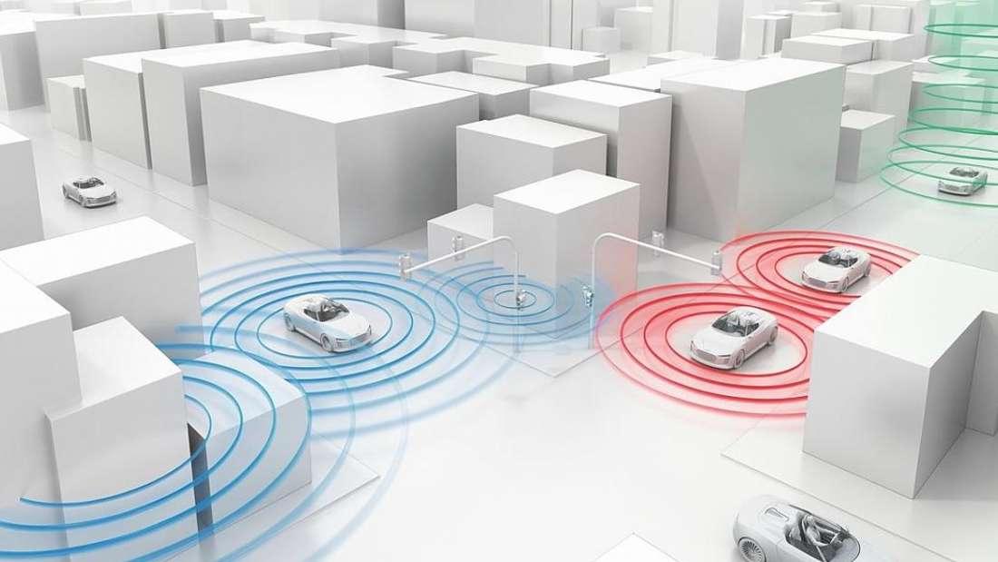 Eine veranschaulichende Straßenszene zur Car2Car Kommunikation vernetzter Autos