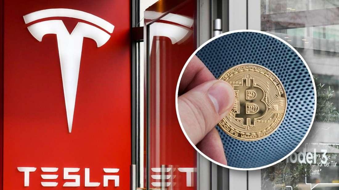 Die Tür einer Teslafiliale (Hintergrund) und eine Hand, die einen Bitcoin hält (Kreis) (Symbolbild)