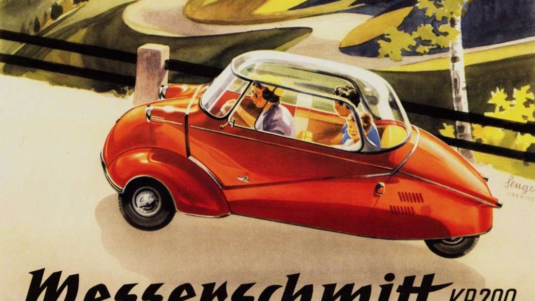 Ein Messerschmitt-Werbeplakat für den Kabinenroller KR 200 der 1950er-Jahre
