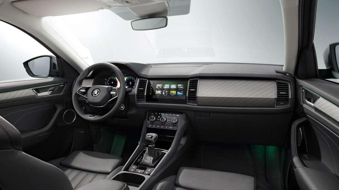Der vordere Teil des Innenraums im überarbeiteten Škoda Kodiaq