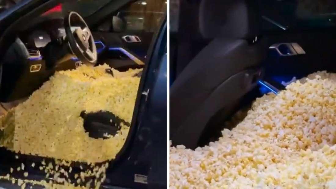 Der Innenraum eines BMW X6 ist mit Popcorn gefüllt