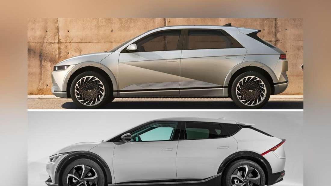 Ein Hyundai Ioniq 5 (oben) und ein Kia EV6