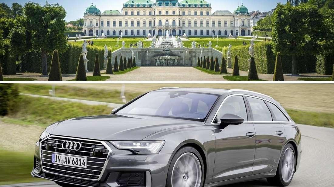 Oben: der Belvedere Schlossgarten in Wien. Unten: der Audi A6 Avant Baureihe C8. (Symbolbild)