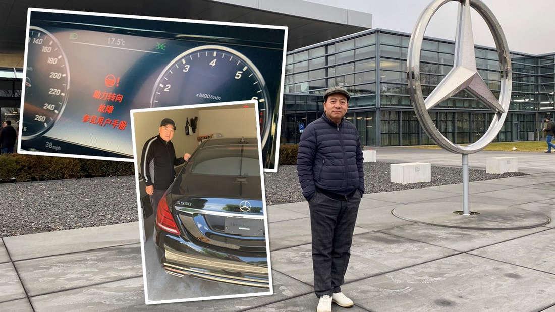Fotomontage: Datong Yang vor der Mercedes-Zentrale in Stuttgart / Datong Yang mit der abgemeldeten S-Klasse / die Fehlermeldung auf dem Display der S-Klasse