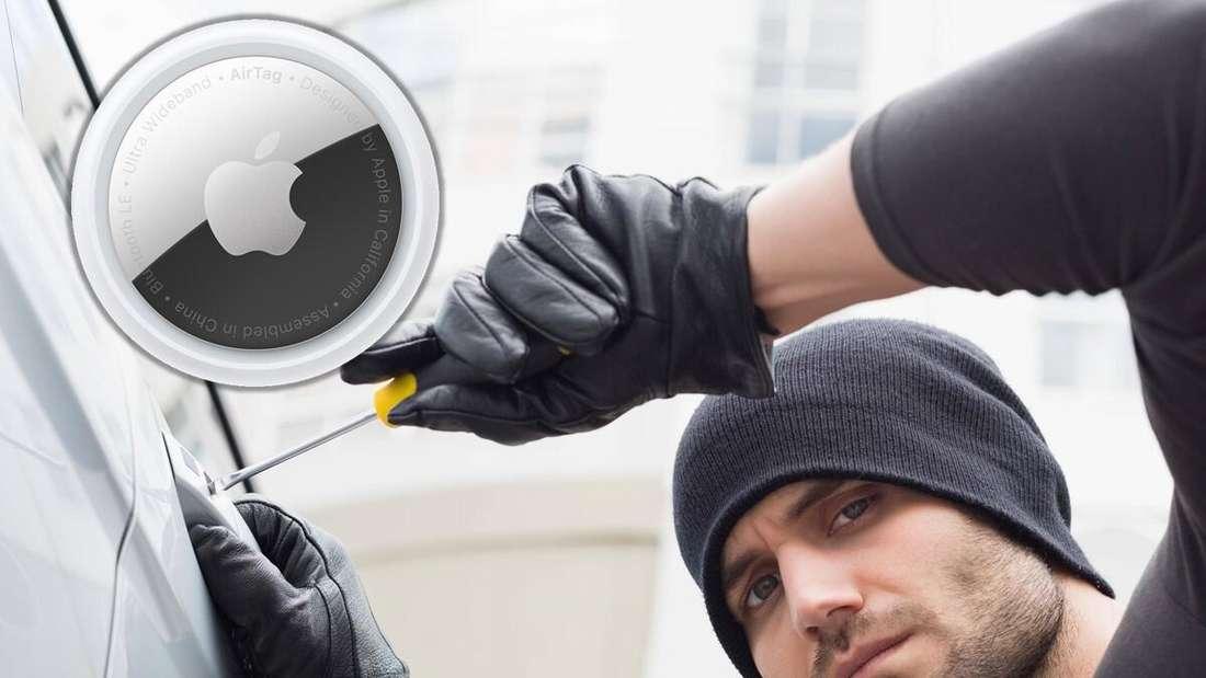 Ein Apple AirTag und Autoknacker (Symbolbild)