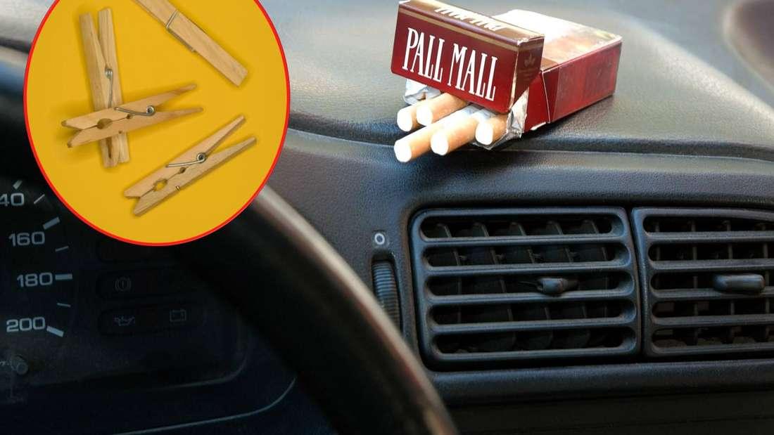 Links: mehrere Wäscheklammern aus Holz. Rechts: eine Zigarettenschachtel über einer Autolüftung. (Symbolbild)