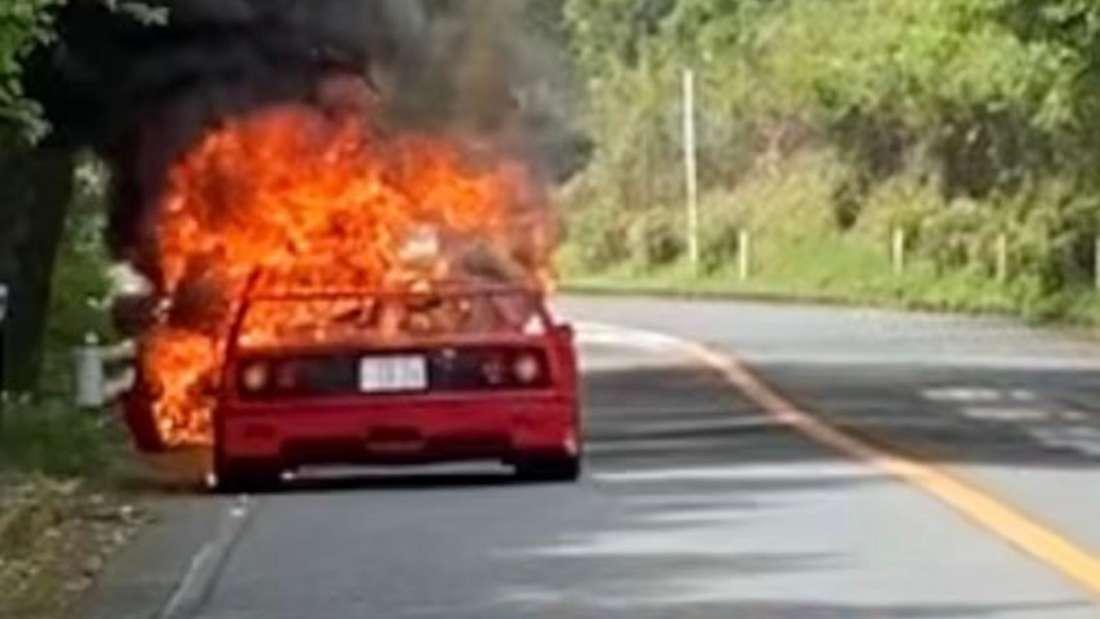 Ein brennender Ferrari F40
