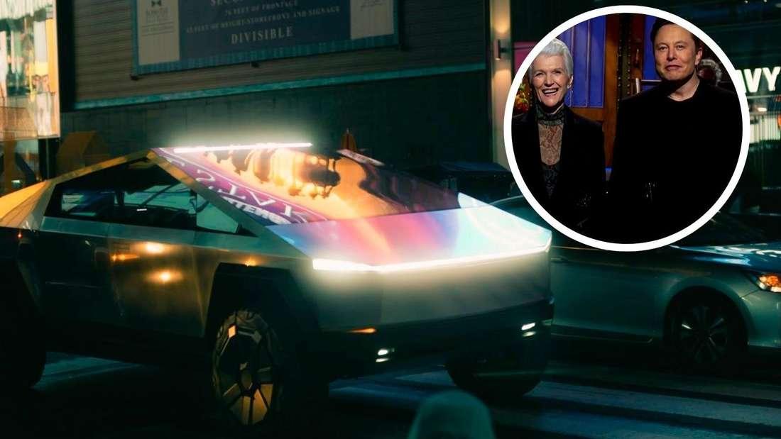 Der Tesla Cybertruck am New Yorker Times Square sowie Elon Musk und seine Mutter (Symbolbild)