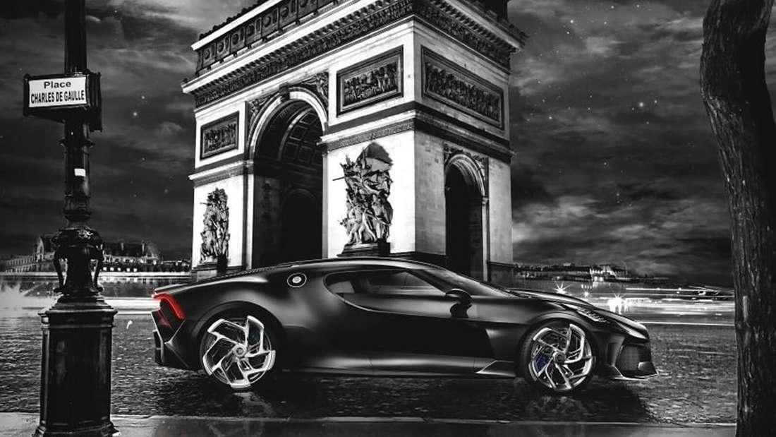 Bugatti La Voiture Noire vor Pariser Triumphbogen, Seitenansicht