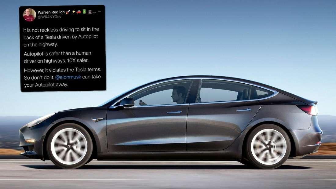 In der Mitte: ein graues Tesla-3-Modell. Links oben: ein Tweet. (Symbolbild)
