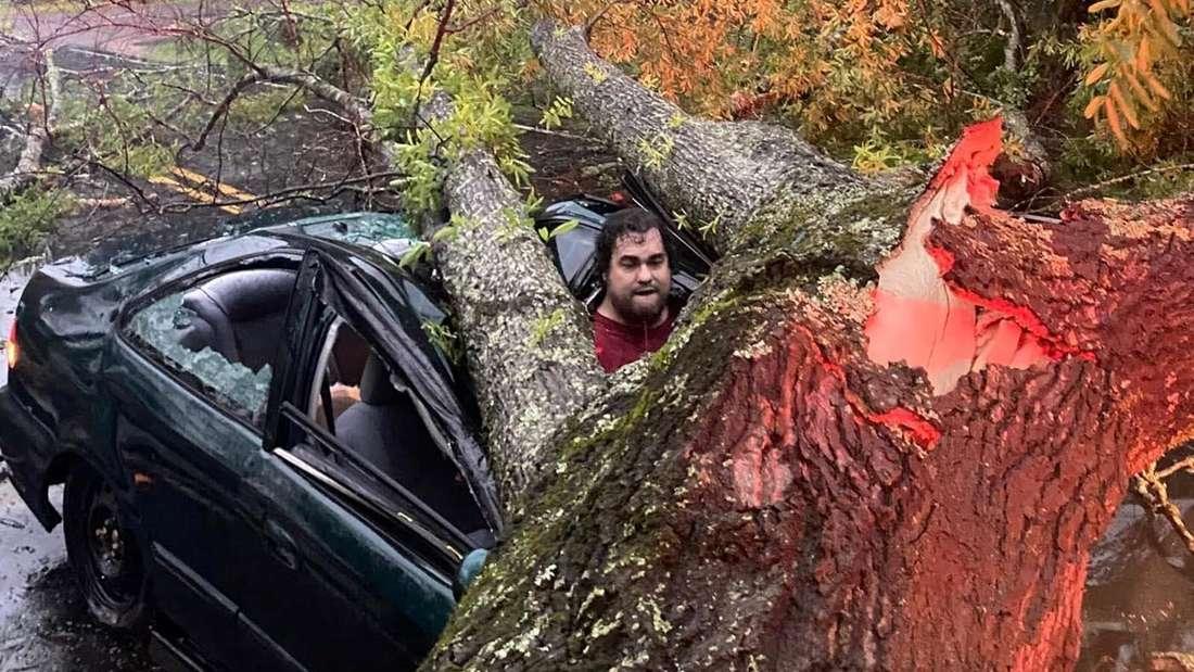 Henri Cheramie steckt im Schiebedach seines Wagens und einem umgefallenen Baum fest.