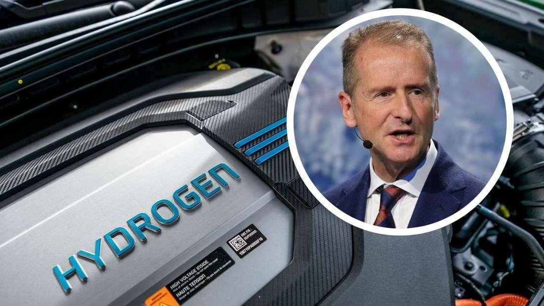 Ein Hyundai-Motor mit Hydrogen-Brennstoffzellen-Technologie sowie VW-Chef Herbert Diess (Symbolbild)